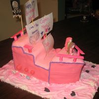 My 11Th Birthday Cake I made this with my mom, karateka. It is a pink pirate ship. It was a horrible disaster the whole time, I think Mom is going to tell the...