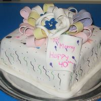 "40Th Birthday Cake For My Mom I made this for my mom. It is fondant with painted designs on the ""wrapping paper"". The bow is left over bow loops from some of..."