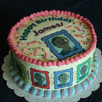 Birthday Cake For James I made this cake for my nephew's birthday. It is buttercream with edible photos.