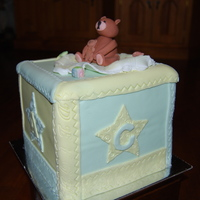 Block Cake Caramel mudcake covered in fondant, decorated with a fondant teddybear.