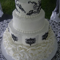 Black And White   black and white ruffle cake buttercream based with fondant folds as a base