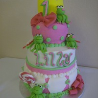 Frog And The Princess   tiered birthday cake for a princess and a frog......
