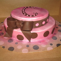 Pink And Brown Polka Dots girl baby shower cake