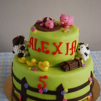 Barnyard Animals This cake was for a little lady who just loves animals and especially barnyard animals. I really like this cake and had a lot of fun making...