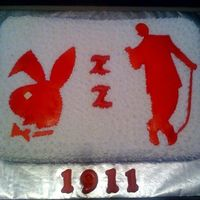 Kappa Alpha Psi Probate Celebration This is a yellow cake covered in buttercream icing using a star tip. The silhouette and the bunny are fondant cut outs.