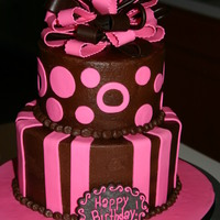 Chocolate Birthday Buttercream with fondant accents.