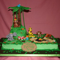 Jungle Birthday! This was for my nephew who turned 1. The animals are all made of fondant.