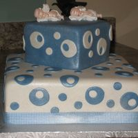Twin Boys Baptism Two layer almond cake covered in foundant