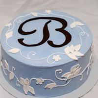 "Blue And Brown Bridal Shower I LOVE THIS CAKE! It has to be one of my favorite cakes that I have done. The leaves and flowers are gumpaste and the ""B"" is..."