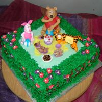 Picnic Birthday  A picnic scene birthday cake for a 1st birthday party.Rich moist chocolate cake, iced with b.c and all side decorations and grass are b.c....