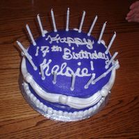 Purple Cake My 17th birthday cake. Purple buttercream (violet + burgundy + royal blue) with white MMF/gumpaste accents... I used wilton pearl dust...