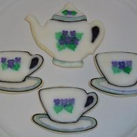 Violet Tea Set! I got new cookie cutters and just had to try them out! I made a tea set with NFSC and glace, then handpainted violets and stripes!