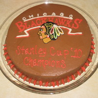 Blackhawks-Stanley Cup Champions   Yeah, Thats right :) I made this cake right after the Chicago Blackhawks won the cup!