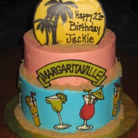 Margaritaville Birthday I made this cake for my good friend who turned 21. Her party was held at a local tiki themed bar, so I thought this would be a fun cake for...