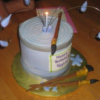 Paint Can Cake Marble cake with buttercream frosting. Fondant accents and handmade paint brushes