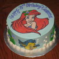 Ariel Yellow cake with buttercream. FBCT decorations. TFL :)