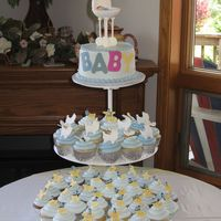 Baby Stroller Shower Cupcake Shower. Top tier is cake with fondant BABY letters on side and a gumpaste stroller and baby on top. Idea of stroller design came...