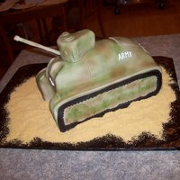 Army Tank For my sons 7th birthday. The cannon is a skewer covered in fondant, the only non-edible part of the cake. All covered in fondant and...