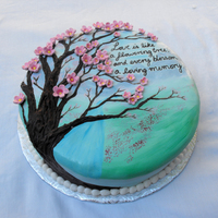 Cherry Blossom Cake I made this cake for an aniversary.t is covered in fondant and painted with food coloring. the flowers are made of fondant and the tree is...
