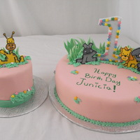 Animal Cake These two cakes were made for a little baby girl. They were covered in pink fondant. the animals and grass etc. were made from fondant as...