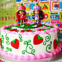 Strawberry Short Cake A birth day cake for a little twin girls. Vanilla with strawberry filling covered in butter cream and decorated with fondant and royal...