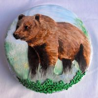 Bear Birth Day Cake This is a cake I made for my sisters birth day. She loves bears so I painted this one for her. It is a marble cake covered in fondant and...