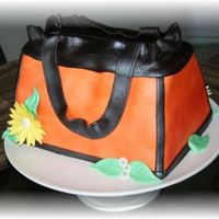 "Orange/brown Purse Made for a Ladie's purse, shoes and jewelry ""get-together"" a neighbor was having. She was so impressed with the cake that..."