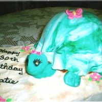 Turtle Cake The turtle was made by placing a 1/2 ball cake on top of 1; 6 inch round layer cake to achive height. The shell, face, legs, flowers, and...