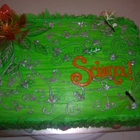 Science Buttercream icing, Gelatin Wire Flower, Butterflies & Leaves, Siver Painted Vines
