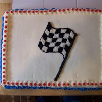 Race Flag   There was a race flag cake on either side of the race cake