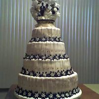 This Is My First Wedding Cake This picture is from my camara phone so you really can't see the color contrast...but incase your interested the colors are cream...