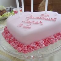 Forever Love Delicious moist sponge cake layered with strawberry jam. The roses are made of three parts sugar past and one part flower paste. I designed...