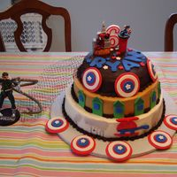 Superheroes Birthday Cake My grandson designed his birthday cake with three different batters and three different icings. He included Captain America, Spiderman, and...