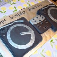 Dj Turntables Cake  birthday cake for my mom's friend's husband's birthday who is a dj red velvet cake/cream cheese icing and marble cake/...