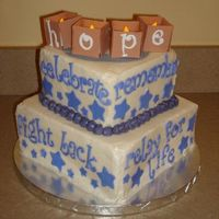 Relay For Life Cake  cake for survivor dinner at the 2009 relay for life event cookies and cream cake and buttercream w/fondant accents i got the hope luminaria...