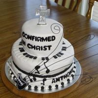 Music Confirmation Cake I did this cake for a dear friend of mine! He is an inspiring musician and wanted to really bring his passion to the cake. I used fondant...