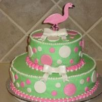 Pink Flamingo Cake  Chocolate cake with crusting BC and fondant accents. I brushed all the fondant pieces with super pearl dust and stood the flamingo up using...
