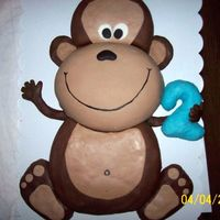 Carved Monkey Cake My first attempt at a true carved cake, it was done for my son's second birthday. Chocolate buttercream, white Satin Ice fondant,...