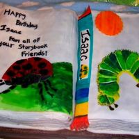 Eric Carle A book cake that I made for a little boy who loves Eric Carle books. I did his two favorite characters. White cake with chocolate filling...