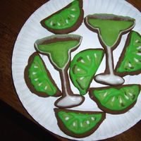 Margarita/lime Cookies Chocolate sugar cookies with Antonia's RI and a little sugar on the rim :) These were just for fun with some extra dough, and I...