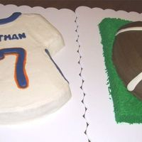 Football And Jersey Cake Denver Broncos jersey cake white cake, white BC filling and faux fondant icing. Gumpaste details. Chocolate cake with chocolate mocha...
