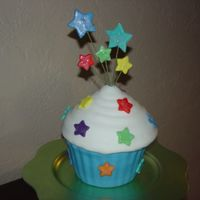 Giant Cupcake Giant Cupcake from the wilton pan. Fondant covered with fondant stars with snow glitter.