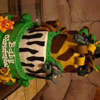 Jungle/safari Tiered Baby Shower Cake