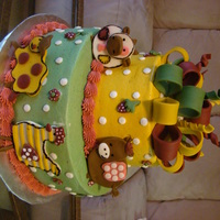 Abby's Animals Bedding Cake   This was made to replicate the bedding Abby's Animals