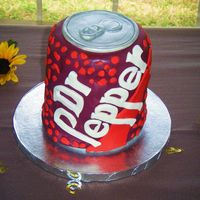 "Dr. Pepper Cake Dr. Pepper grooms cake. 2 6"" stacked cakes covered in fondant. Hand cut the letters."