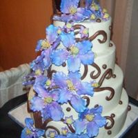 Purple And Mint Wedding Cake This is a dumey cake I made for the bridal expo I was at on Monday. It is a based on a cake by Lisa Marie Kincaid. I changed up the...
