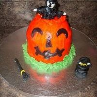 Halloween Pumpkin Witch This was a Halloween cake order that a client found in a party cake book. ( The creator was not printed) It is fondant pumpkin with...