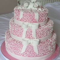 Bows & Lace Royal icing on Fondant. Gumpaste bows.TFL
