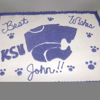 K-State Cake   Made this for my husband to take to work tom for a co-worker going to a different branch within the company he is a huge K-State fan.