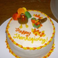 Thanksgiving Cake   This was the cake that I made for Thanksgiving this is a carrot cake with cream cheese frosting and Fondant accents